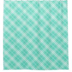 McTiffany Aqua Blue Tartan Scottish Plaid Shower Curtain -  McTiffany Aqua Blue Tartan Scottish Plaid              ... #custom #print on demand art themed #gift #menoenterprises  showercurtain design by #McTiffany - #menoenterprises  #showercurtain #mctiffany #aqua #blue #tartan #scottish #plaid