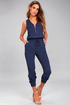 #Lulus - #Lulus Scarlett Navy Blue Jumpsuit - AdoreWe.com