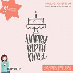 Our Dollar Spot is HOT! This Happy Birthday Cake SVG design features the phrase: Happy Brithday. Comes with PNG files for clipart users and cut files for crafters! Yep, you get this design for your crafts for just $1! Adorn your clothes, design your planner pages, or create really cute craft projects, only for a dollar.  Why $1? Well, we give away a design set every Friday to our subscribers (go to http://hollypixels.com to sign up) but the link expires in 24 hours. So, if you miss out on…