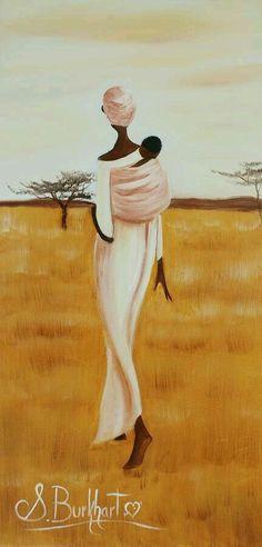 african-woman-with-baby-shawna-burkhart afrikanische-frau-mit-baby-shawna-burkhart Art: African Afrique Art, African Art Paintings, Art Africain, Black Artwork, African American Art, African Women, Black Women Art, Female Art, Art Pictures