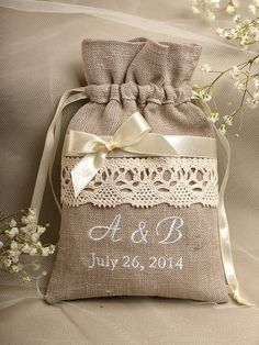 Natural Rustic Linen Wedding Favor Bag Lace by DecorisWedding, $3.00