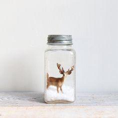 Vintage Handmade Glass Snow Globe / Deer, Reindeer, Mason Jar. via Etsy.