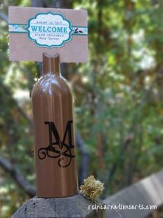 Wine bottle Signage Holder/Table Number - 100% Personalized, $22.50! - Visit www.reincarnationsart.com to see our full line of signage holders!