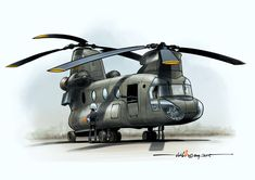 VNAF CH-47A CHinook cartoon based on real life reference. Crews relief in between missions at remote LZ. This cartoon was done with the latest released Corel painter 2017 as a trial...