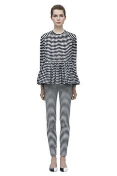 checkered peplum top and matching skinny pants by Victoria Beckham