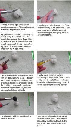 Porcelain BJD tutorials: 5. Cleaning greenware - by Allison Mecleary, Woodland Earth Studio