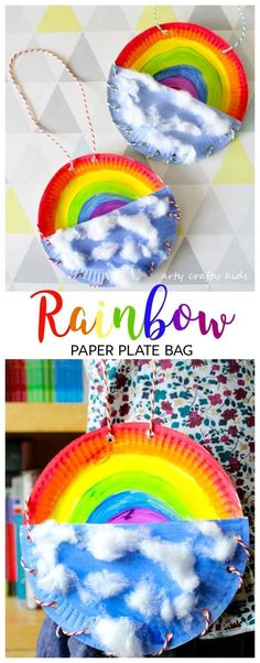 Arty Crafty Kids | Book Club | Craft Ideas for Kids | Rainbow Paper Plate Bag | Rainbow Paper Plate Bag | A fun Rainbow themed craft for kids, where kids can store notes, pens and pencils in their very own Rainbow Bag!