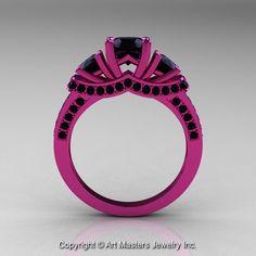 Black Diamond Wedding Ring with Pink | French 14K Pink Gold 1.5 CT Black Diamond Wedding Ring Engagement Ring ...