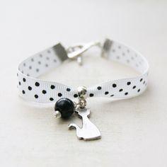 Bracelet Tissu à Pois «  Chat  » - bracelet manchette - Lfeemain - Fait Maison