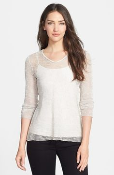 Eileen Fisher Soft Mesh Knit V-Neck Top (Regular & Petite) available at #Nordstrom