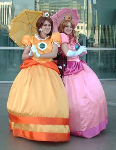Princess Peach and Princess Daisy! Need a yellow umbrella.