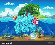 Fish World - Illustration Boot Screen To The Computer Game - 318977495 : Shutterstock