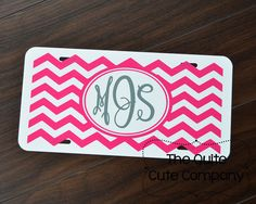 Custom Monogramed Chevron Car Tag by TheQuiteCuteCompany on Etsy, $15.00