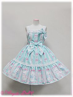 Angelic Pretty Whimsical Vanilla-chan Tiered JSK (Mint) i like the black one the best but, blue is acceptable. but omg mini Tommys (my cat)