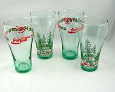 Libbey Christmas Holiday Coca Cola Coke Green Glasses (Set of 4)