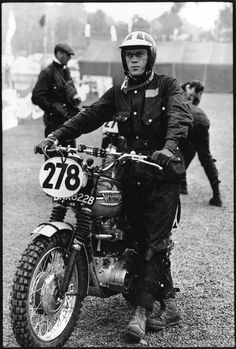 Steve McQueen with his Triumph motorcycle, in the International Six Days Trial (ISDT),sporting a Barbour jacket. Still wearing mine from the 70's!!