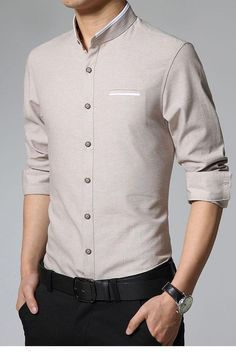 Shirt can well embody a person's gentle temperament. Our newest Handsome Pure… Shirt Collar Styles, Stand Collar Shirt, Ropa Semi Formal, Formal Shirts For Men, Men Shirts, Formal Men Outfit, Mens Designer Shirts, Indian Men Fashion, Stylish Shirts