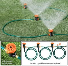 Customize your lawn care with this convenient and efficient sprinkler system. Set includes 3 multi-function sprinkler heads connected by sections Sprinkler System Design, Water Sprinkler System, Sprinkler Heads, Sprinkler Pump, Garden Watering System, Garden Sprinklers, Backyard Garden Landscape, Collections Etc, Vegetable Garden Design