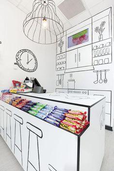 Beispiel für gute Kommunikation im Raum: Candy Shop Design von Red Design
