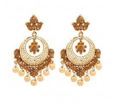 Brighten up your traditional look wearing this gold plated kundan chandbali earrings from GoldNera.  #womensearrings #earringsforwomen #womensaccessories #designerjewellryforwomen #onlineshoppingfordesignerjewellery Shop here- https://trendybharat.com/women/jewellery/18k-champaign-chand-earrings-ge_march16_f0197