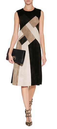 Detailed in a luxe patchwork of leather and suede, this neutral-hued dress from Derek Lam puts an impeccable modern spin on daytime dressing #Stylebop