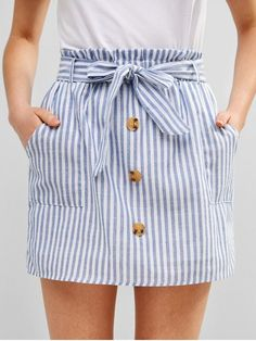 ZAFUL Mini falda con botones abotonado The Effective Pictures We Offer You About Skirt fashion A qua Cute Skirts, Cute Dresses, Casual Dresses, Casual Outfits, Cute Outfits, Mini Skirts, Jean Skirts, Summer Dresses, Trendy Fashion