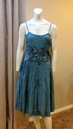 Anthropologie Odille Dress 6 Blue Chalet Embroidered Beaded Cotton RARE $120 | eBay