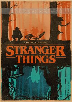 Stranger Things Netflix poster retro wall deco decoration