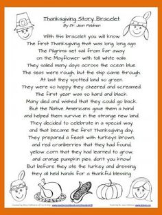 Thanksgiving Story Bracelet Poem from Fun A Day on TeachersNotebook.com -  (1 page)