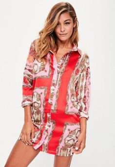 a8a21fd01b2 Orange Chain Print Frill Hem Shirt Dress in 2019