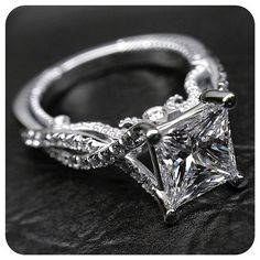 We just can't get enough of this stunning Princess cut in the custom Insignia-7060. Engagement rings by @Verragio