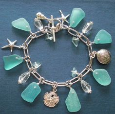 Intense Aqua Seaglass Moonstone and Aquamarine Bracelet