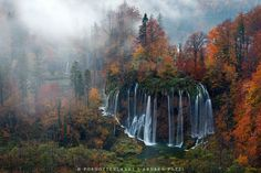 Waterfall and autumn colors in Plitvice National Park, Croatia.