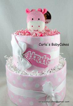 Girl Diaper Cake  Baby Diaper Cake  Pink by MsCarlasBabyCakes