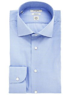 Light-blue check shirt for men with cutaway collar Delsiena