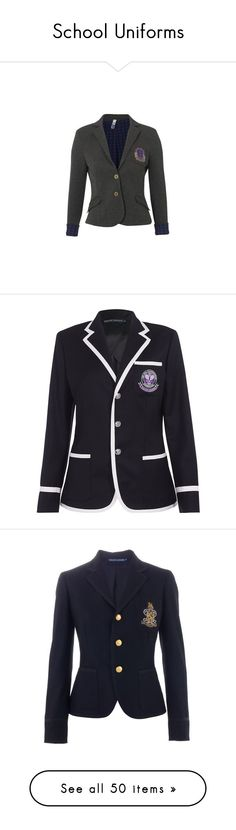 """""""School Uniforms"""" by fabianecunha ❤ liked on Polyvore featuring outerwear, jackets, blazers, uniform, school, cardigans & blazers, women, women's tops, collar jacket and grey blazer"""