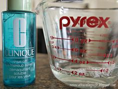 Make your own Clique Make-up remover with 3 ingredients.  2 ounces cool water,  1/4 Tsp Tear Free Baby Shampoo, 5 drop baby oil Health And Beauty Tips, Beauty Make Up, Diy Beauty, Beauty Skin, Beauty Hacks, Diy Makeup Remover, Eye Make-up Remover, Make Up Remover, Homemade Beauty Products