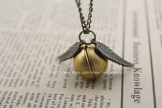 harry potter locket gold snitch necklace antique by laurabestgift, $2.30