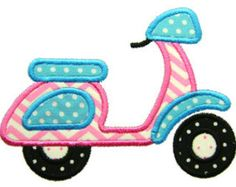 Machine Embroidery Design Applique Scooter Instant Download 4042