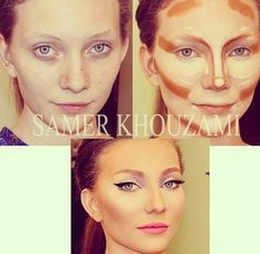 makeup application with contouring