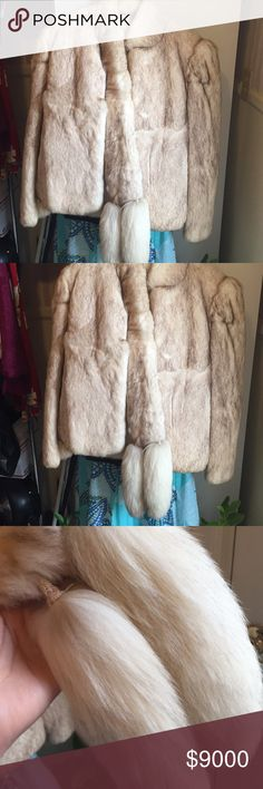 Take 50% off Rabbit fur coat fox tails scarf Absolutely Stunning Authentic rabbit jacket worn one time. This is a beautiful jacket. If you love fur and love to feel elegant. Then this is the coat for you. It was a gift that I wore only 1 time. Size Medium. Jackets & Coats