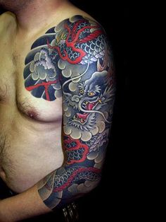 Red And Grey Japanese Dragon Male Half Sleeve Tattoo Design Ideas