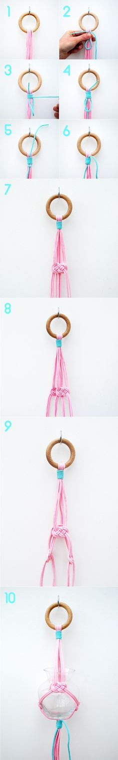 Simple hanging vase by minieco - carrick bend & gathering knot - My DIY Tips Diy Projects To Try, Crafts To Do, Easy Crafts, Craft Projects, Arts And Crafts, Craft Ideas, Decorating Ideas, Decor Ideas, Hanging Vases