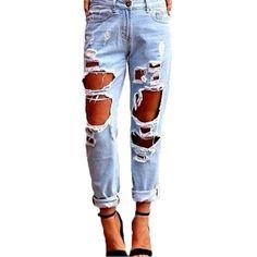 Slim Hole Ripped Jeans for Women Mid Waist Denim Plus Size fashion Pants  Blue 2017 Casual Design ladies Pencil Trousers 100% abb26118cfbe