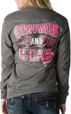 Girlie Girl Originals Women's Grey Gunpowder and Lead Long Sleeve Tee