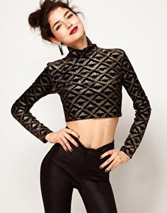 ASOS Crop Top in Velvet with Glitter Print - $43.98 - hate crop tops, but this is pretty funky.
