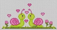 Valentine snails cross stitch.