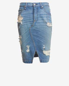 rag & bone/JEAN Shredded Denim Skirt | Shop IntermixOnline.com