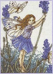 Cross stitch - fairies: Lavender fairy - Cicely Mary Barker (free pattern with chart)