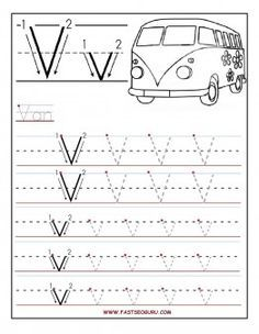 Free Printable letter V tracing worksheets for preschool.free connect the dots alphabet writing practice worksheets for graders Letter Worksheets For Preschool, Preschool Writing, Preschool Letters, Alphabet Worksheets, Preschool Printables, Kindergarten Worksheets, Letter Activities, Coloring Worksheets, Handwriting Worksheets